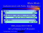 main mode authentication with public key encryption