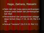 hagai zakharia maleakhi