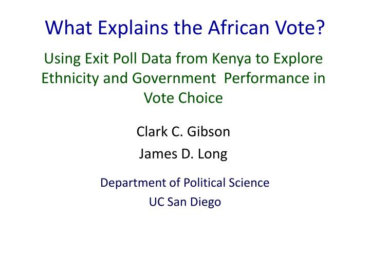 what explains the african vote n.