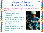 causes of serious head neck injury