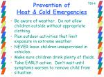 prevention of heat cold emergencies