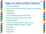 signs of head neck injuries