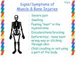 signs symptoms of muscle bone injuries