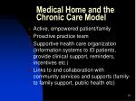 medical home and the chronic care model