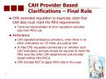 cah provider based clarifications final rule