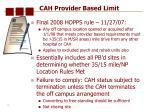 cah provider based limit
