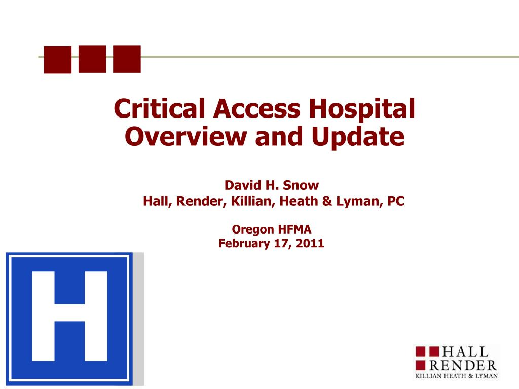 critical access hospital overview and update l.
