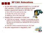 np cah relocations