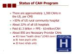 status of cah program