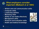 what employers consider important maibach et al 1994