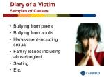 diary of a victim samples of causes