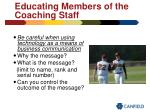 educating members of the coaching staff45