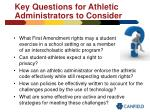 key questions for athletic administrators to consider