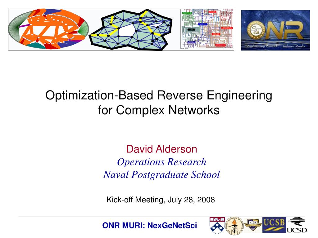 optimization based reverse engineering for complex networks l.