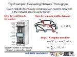 toy example evaluating network throughput