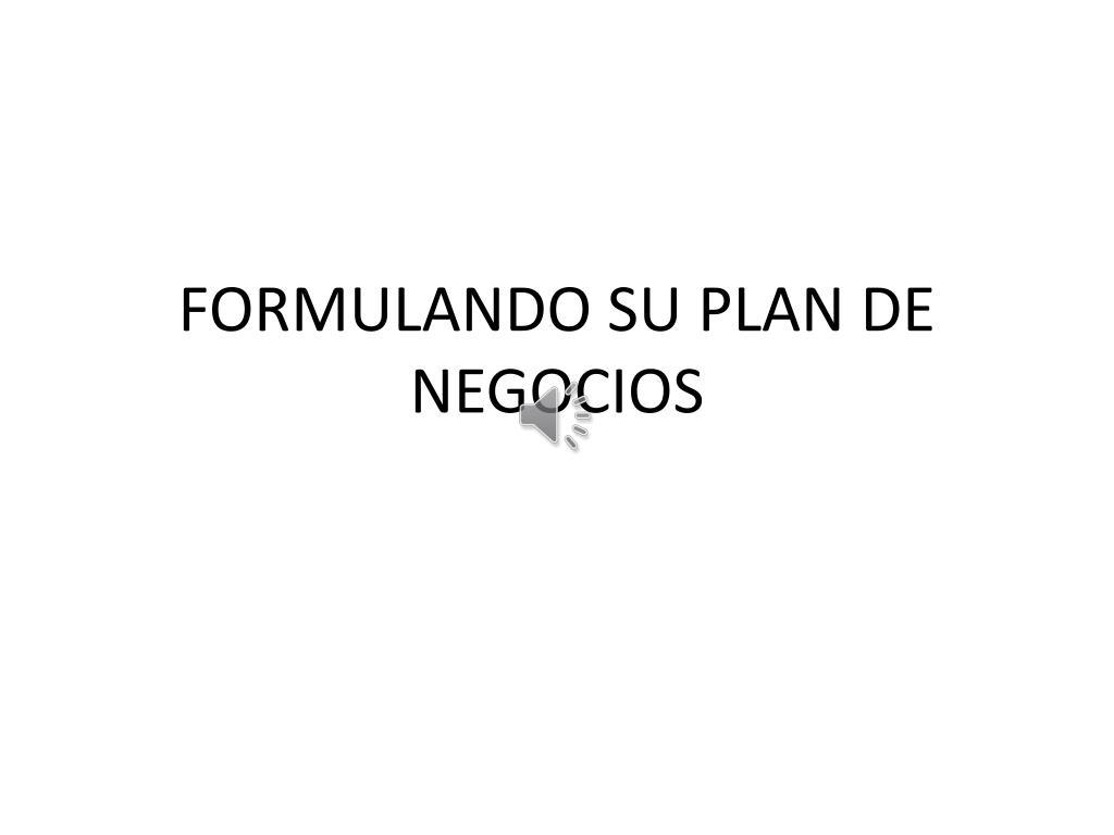 formulando su plan de negocios l.