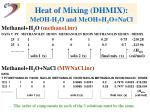 heat of mixing dhmix meoh h 2 o and meoh h 2 o nacl