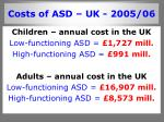 costs of asd uk 2005 06
