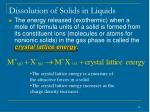 dissolution of solids in liquids