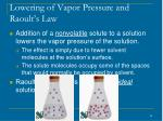 lowering of vapor pressure and raoult s law