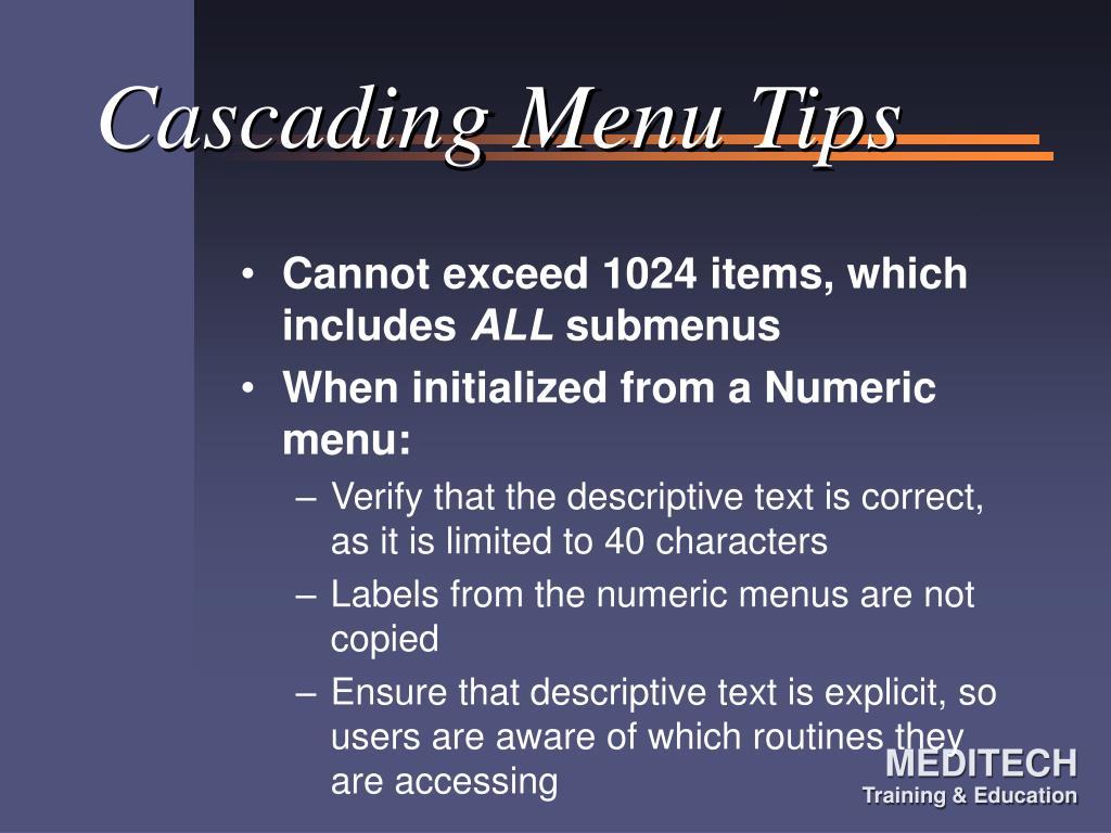 Cascading Menu Tips