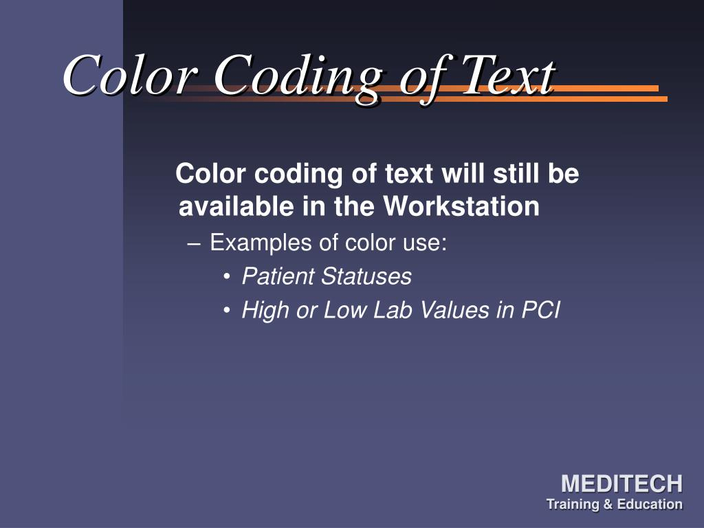 Color Coding of Text