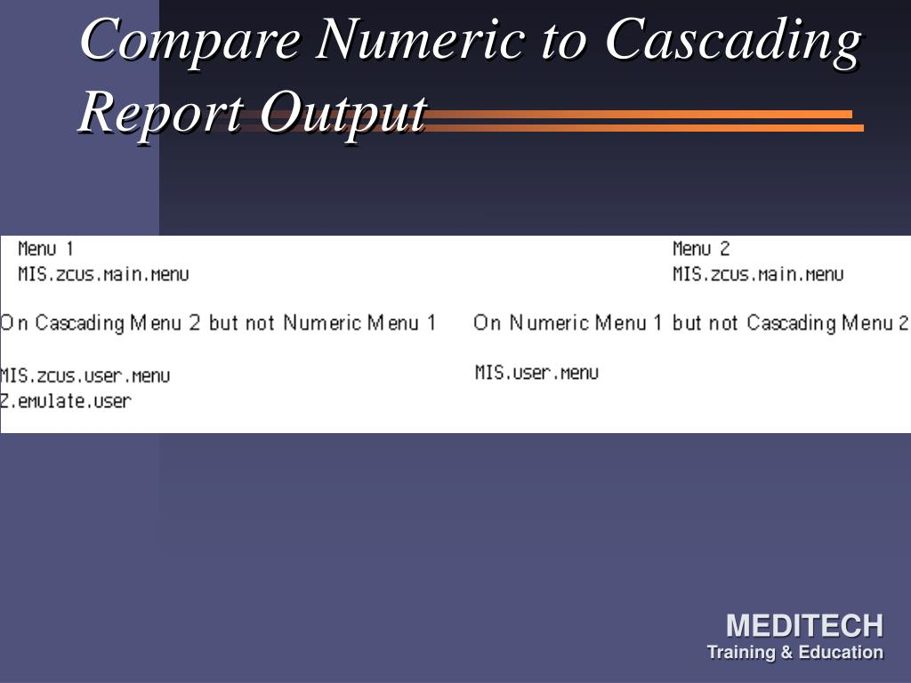 Compare Numeric to Cascading Report Output