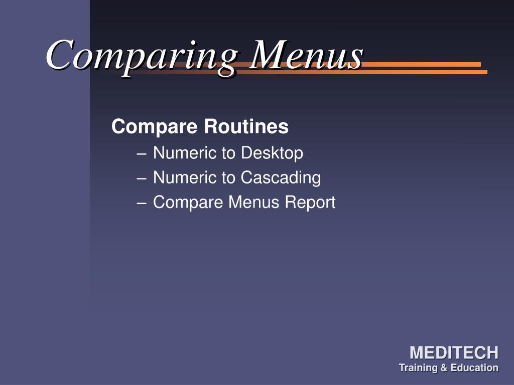 Comparing Menus