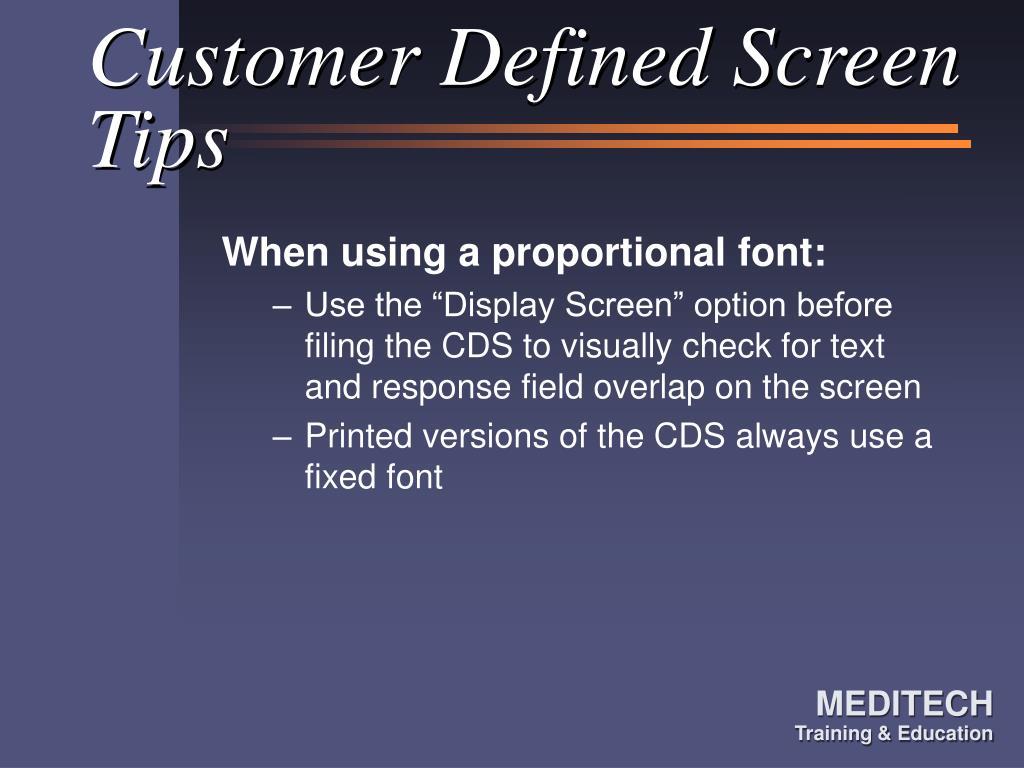 Customer Defined Screen Tips