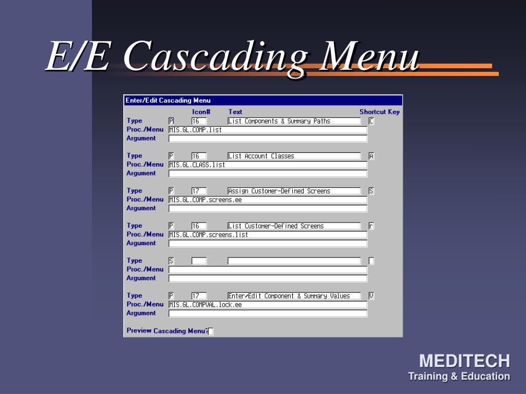 E/E Cascading Menu