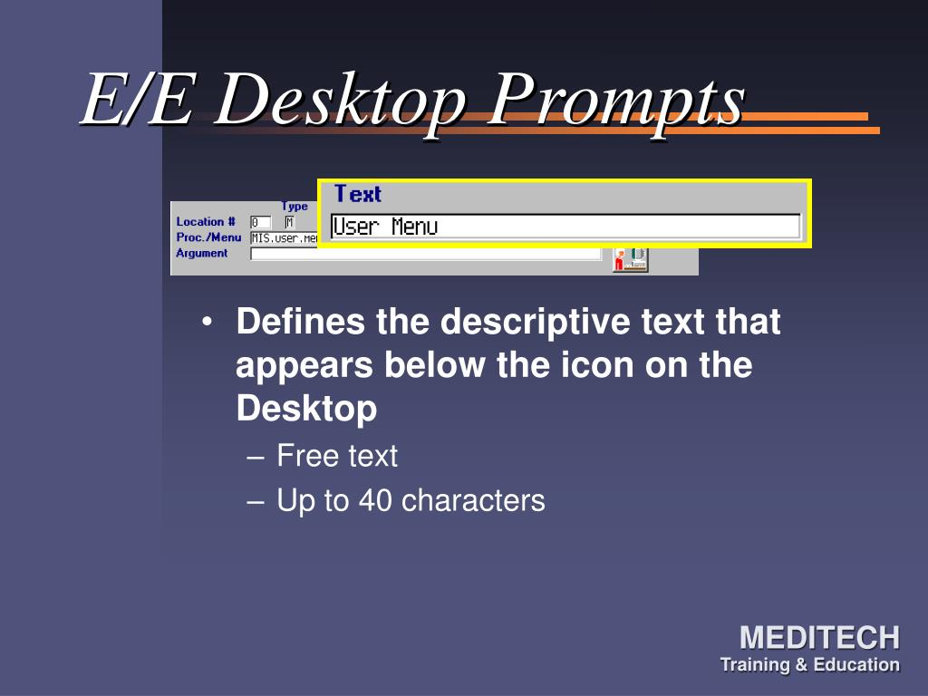 E/E Desktop Prompts