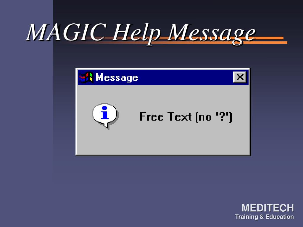 MAGIC Help Message