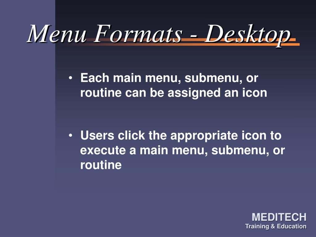 Menu Formats - Desktop