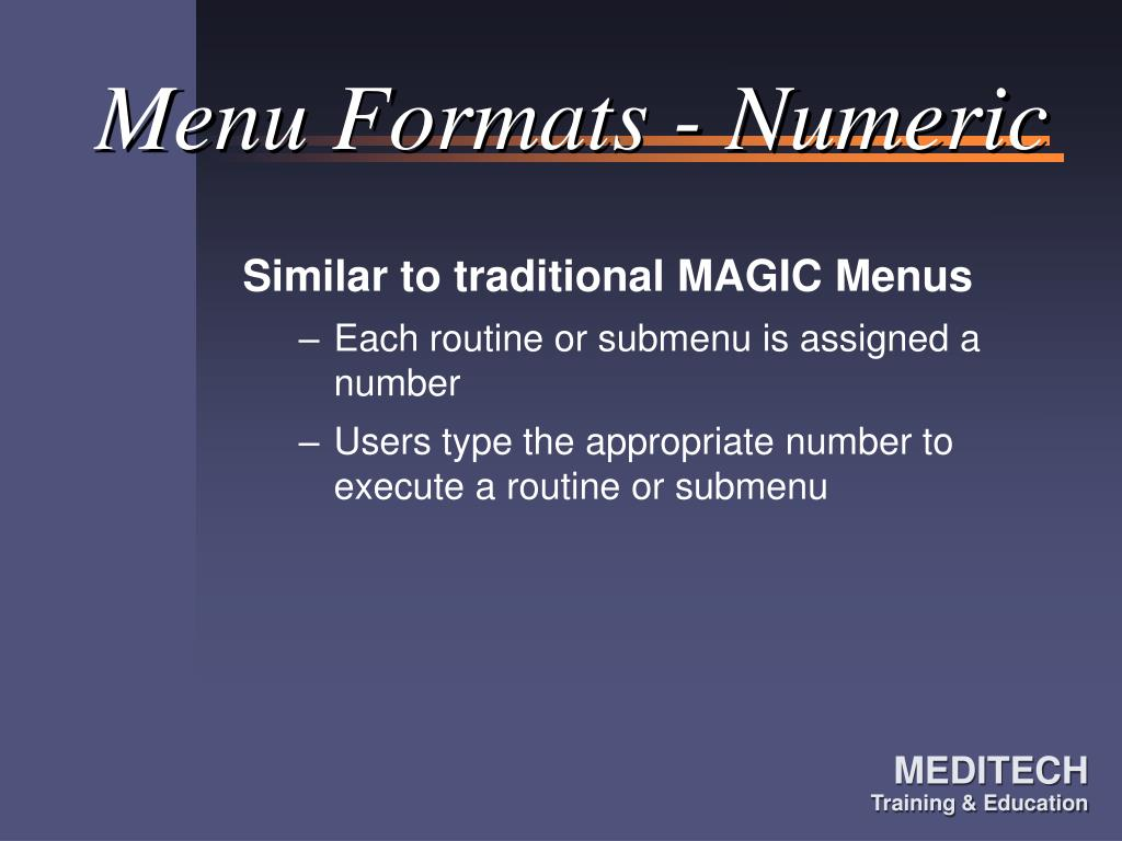 Menu Formats - Numeric