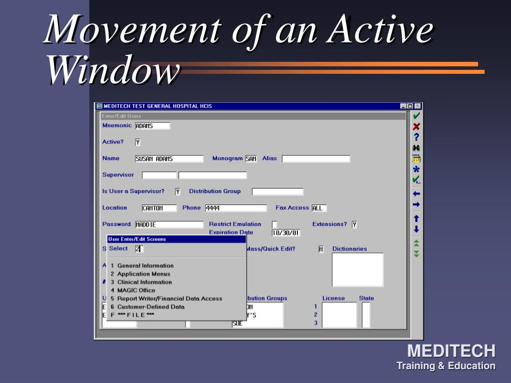 Movement of an Active Window