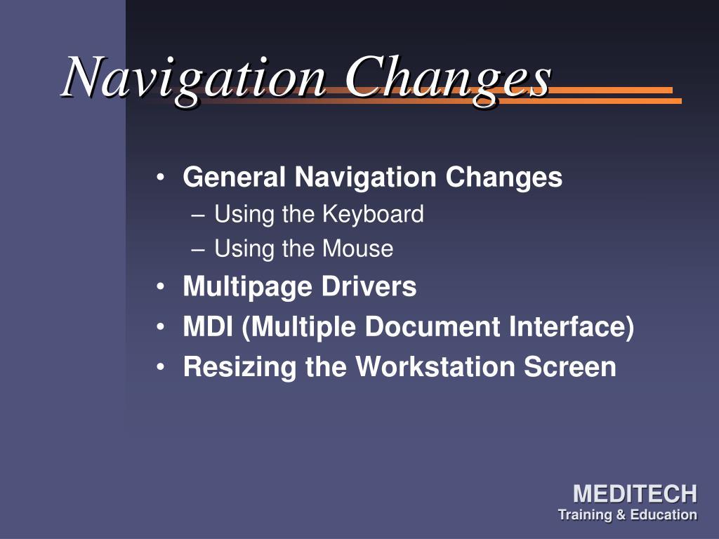 Navigation Changes