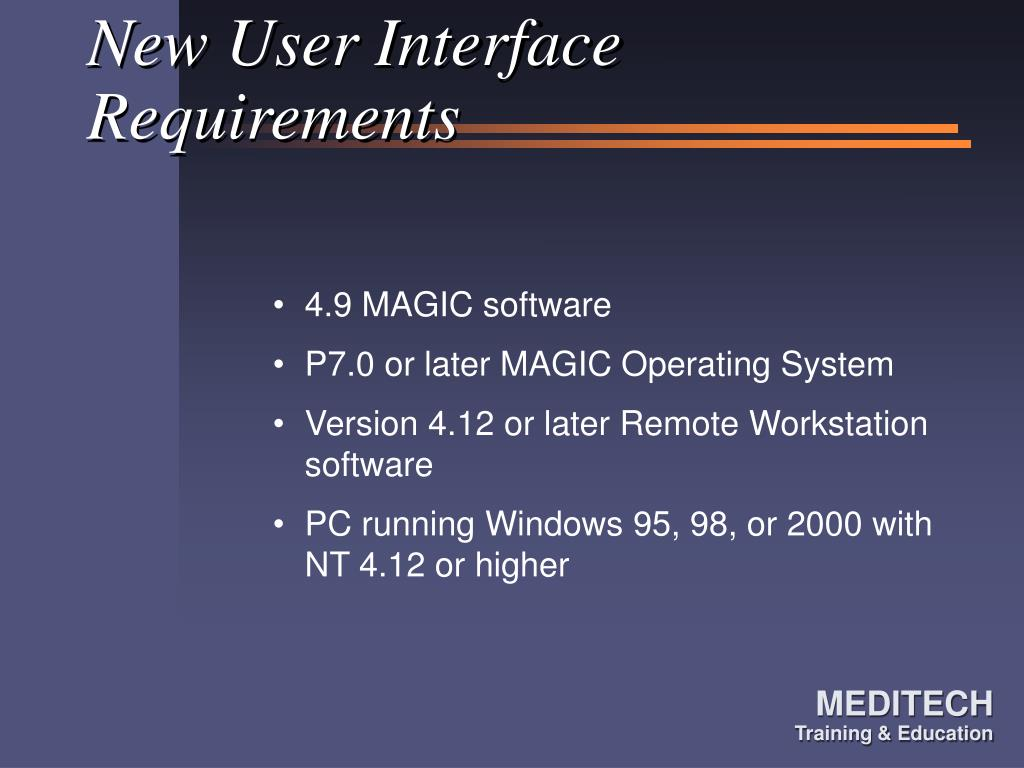 New User Interface Requirements