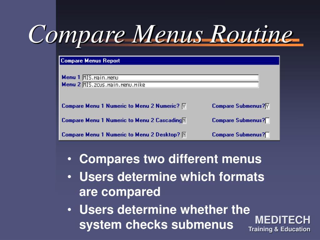 Compare Menus Routine