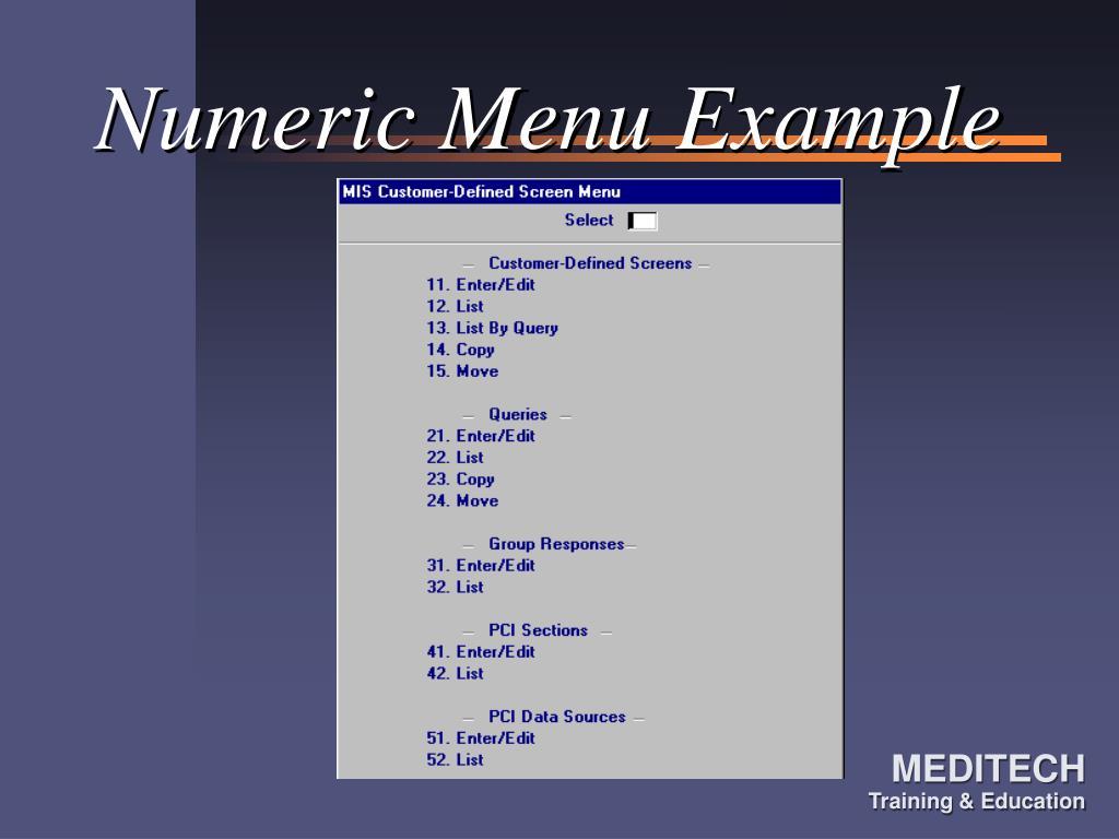 Numeric Menu Example