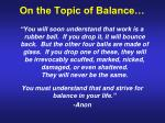 on the topic of balance27