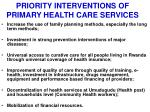 priority interventions of primary health care services