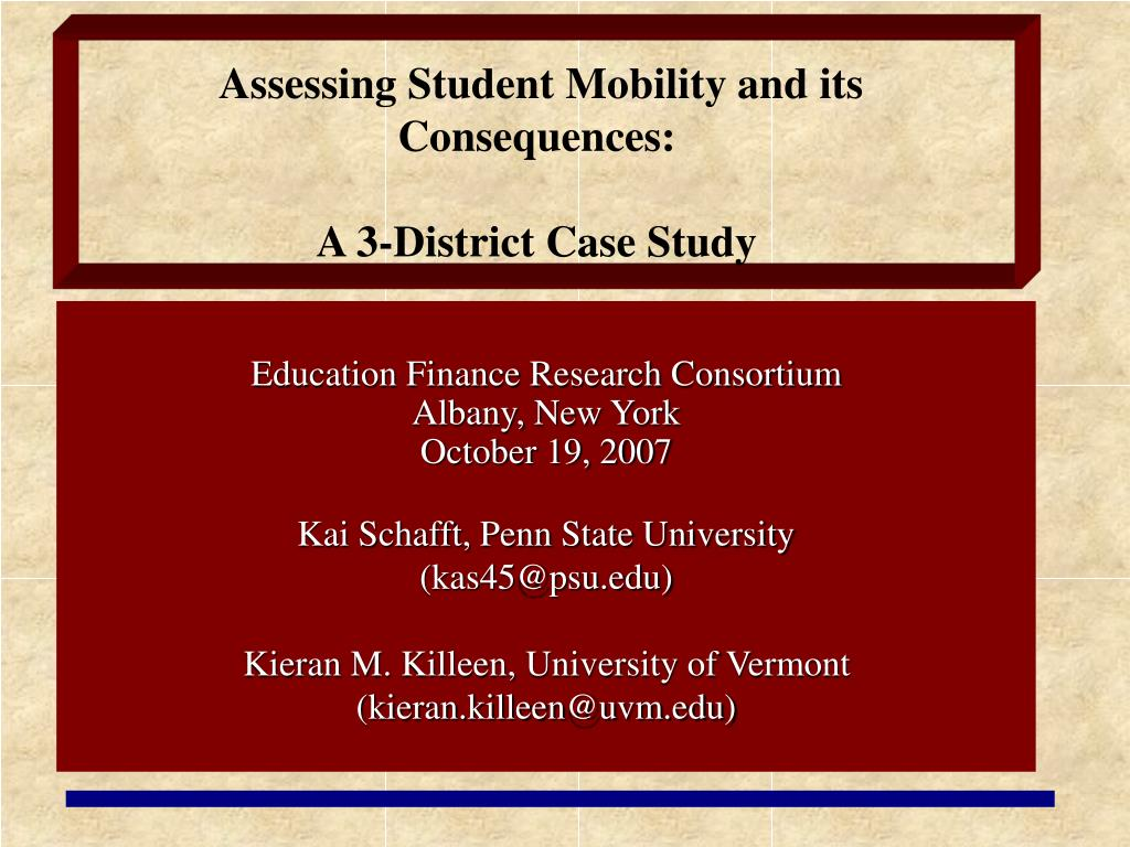 assessing student mobility and its consequences a 3 district case study l.
