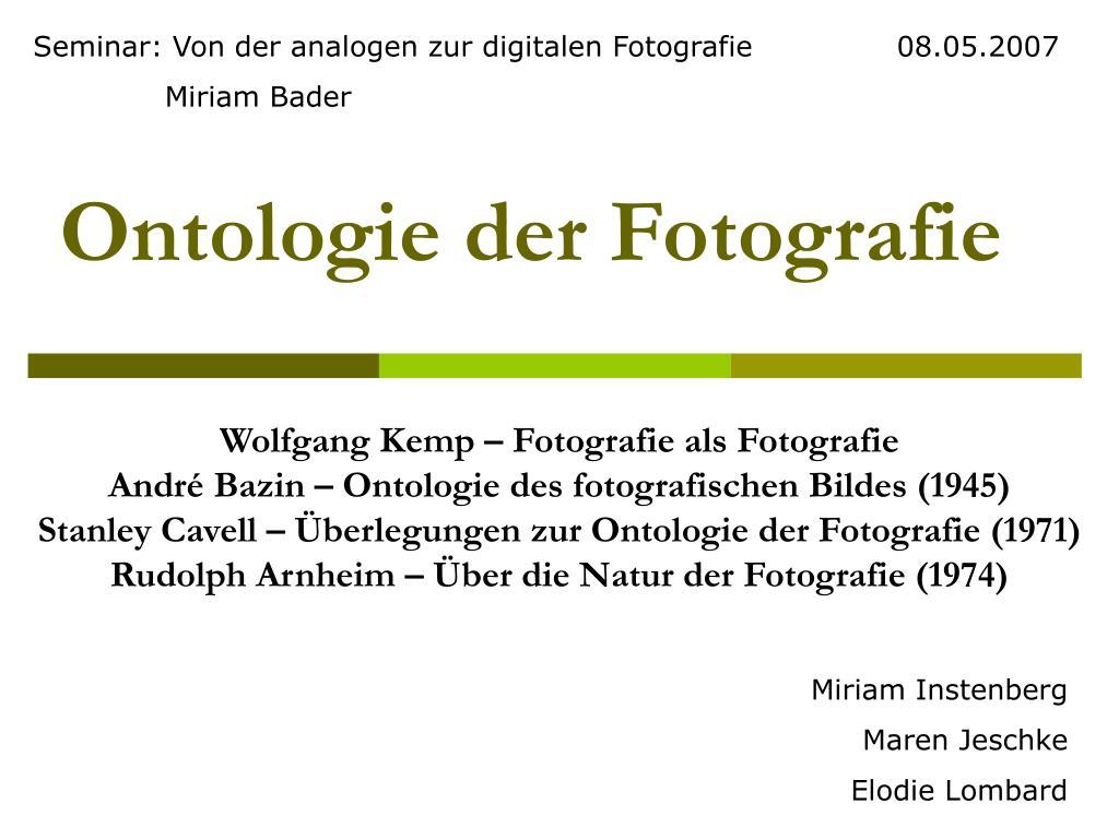 ontologie der fotografie l.