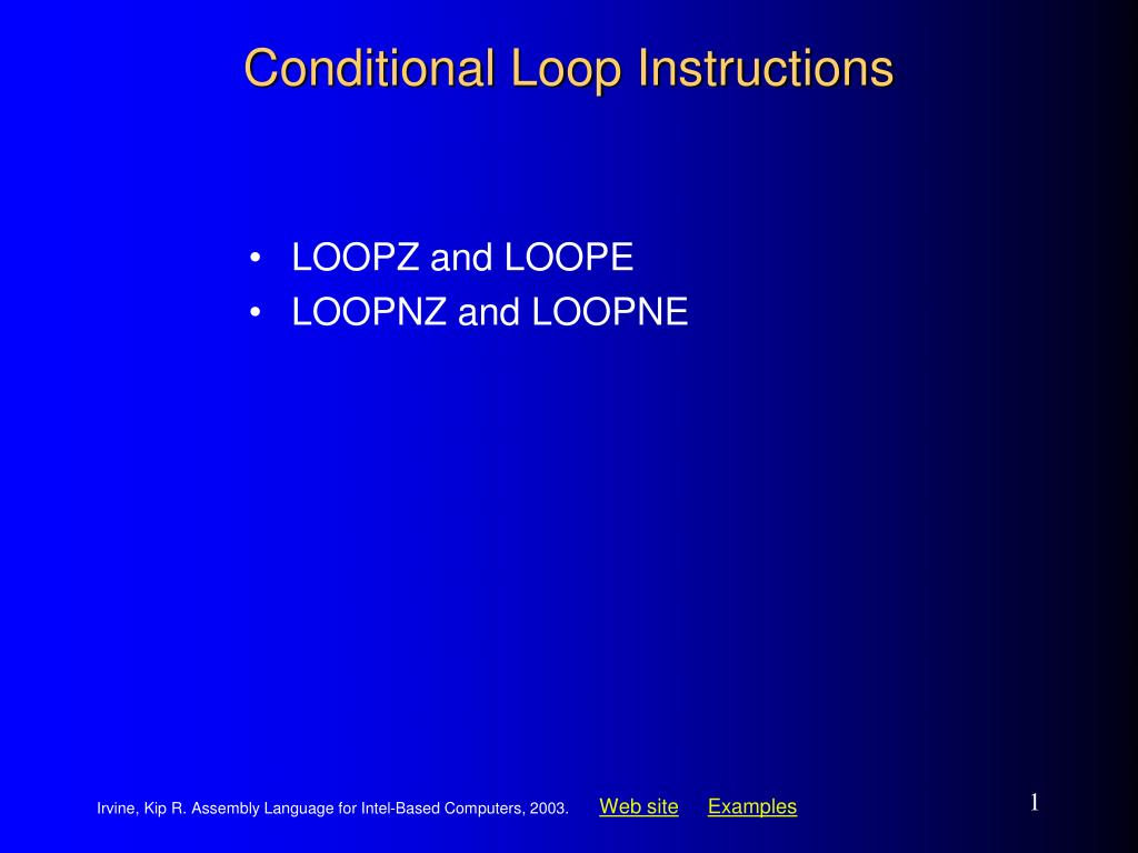 conditional loop instructions l.