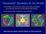 tetrahedral symmetry for the 24 cell