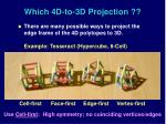 which 4d to 3d projection