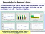 community profile economic indicators