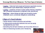 encourage wide array of measures the three types of indicators
