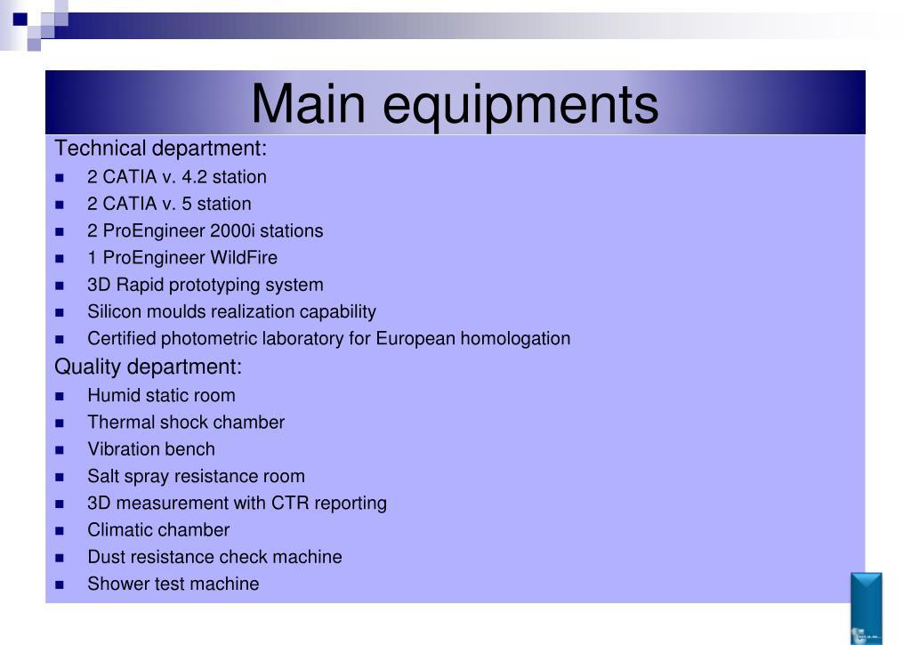 Main equipments