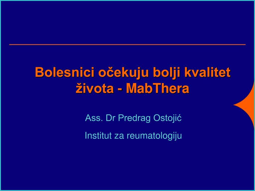 bolesnici o ekuju bolji kvalitet ivota mabthera l.